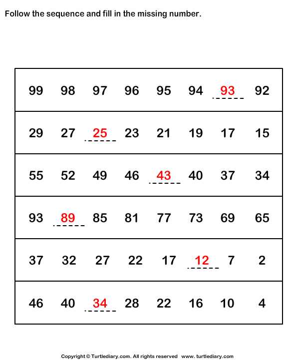 Number Sequence Worksheets addition and subtraction – Algebra Readiness Worksheets
