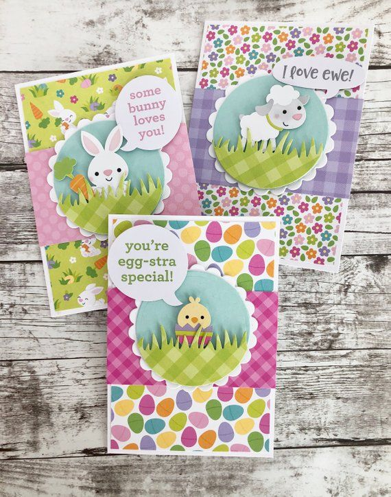 Easter Bunny/Easter Chick/Lamb/Happy Easter Handmade Cards- Set of 3