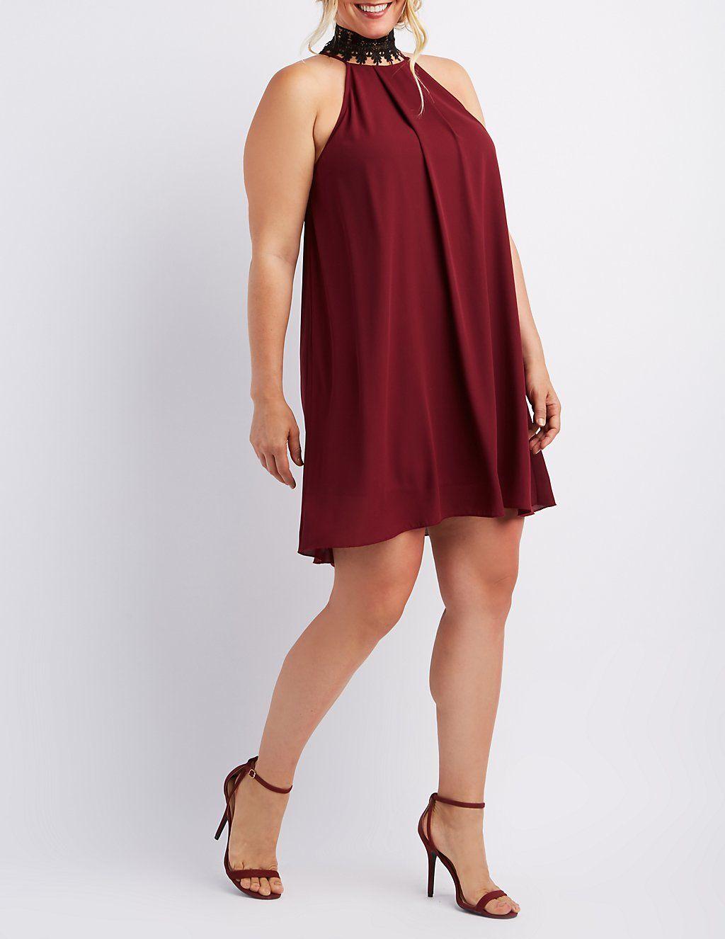 Plus Size Bib Neck Shift Dress #charlotterusseplus | Charlotte Russe ...