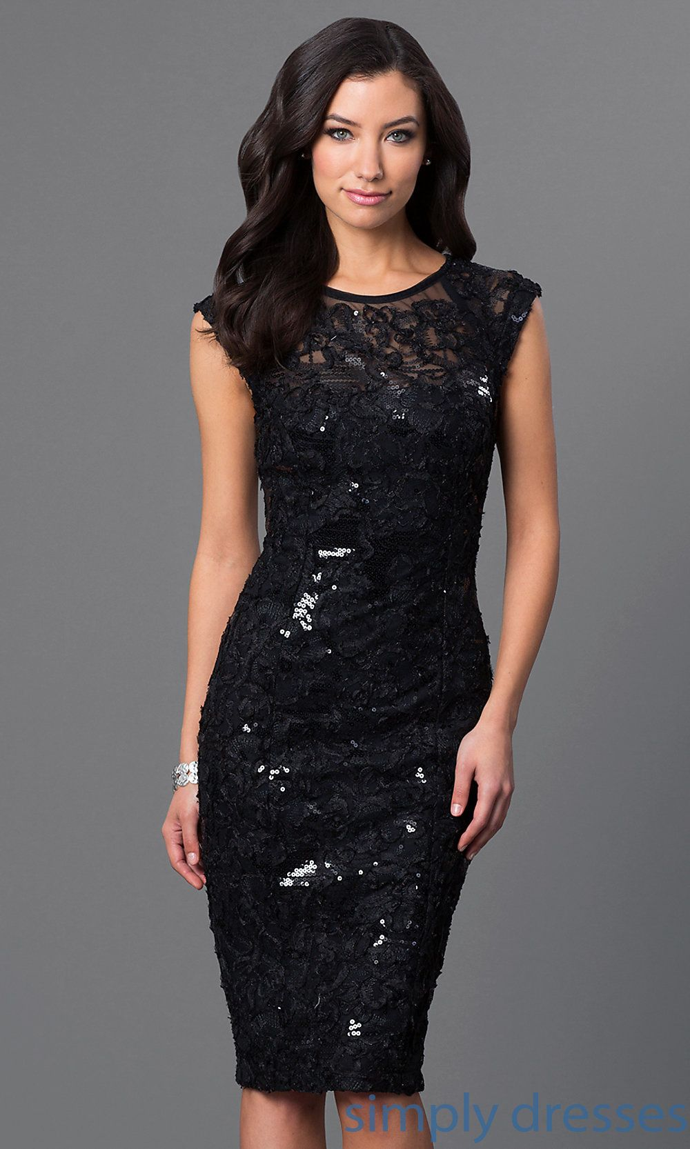 Sequinedlace kneelength black dress black party dresses black
