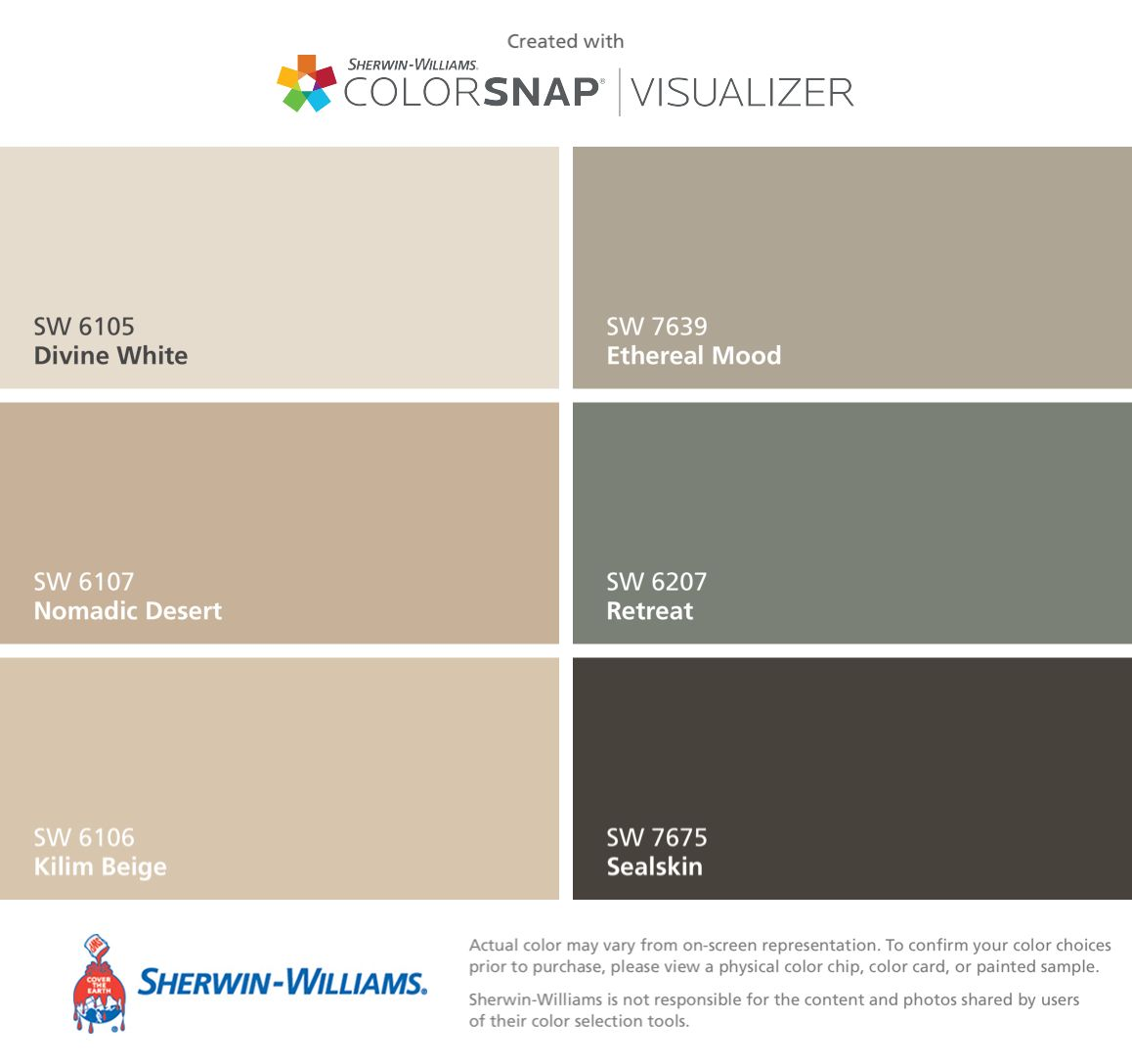 I found these colors with colorsnap visualizer for iphone by sherwin williams divine white sw 6105 nomadic desert sw 6107 kilim beige sw 6106