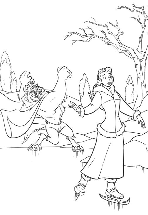 Disney Princess Christmas Cheer With Ice Skating Coloring Pages