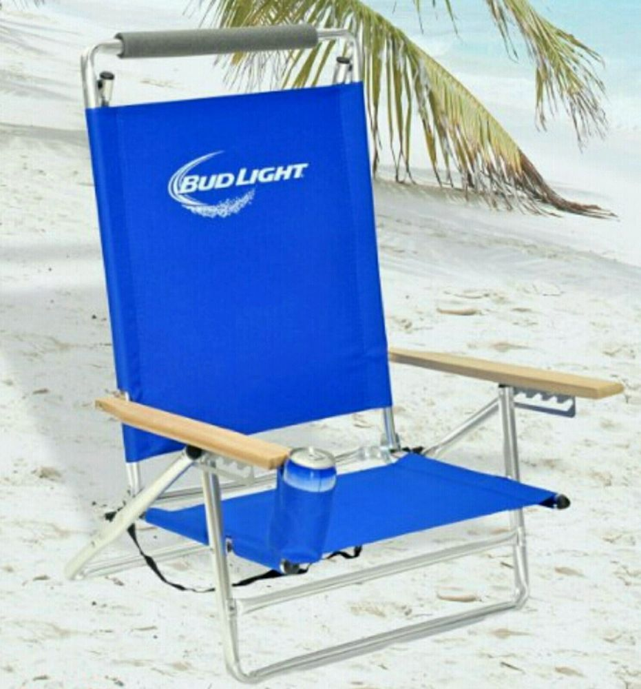 beach chair cup holder western rocking deluxe 5 pos lay flat aluminum w