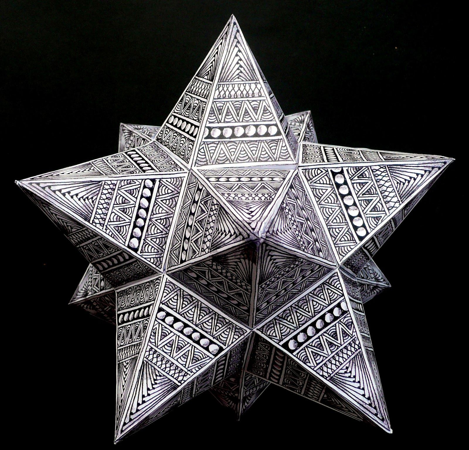 How to make a zentangled polyhedron ~ small Stellated ... - photo#40