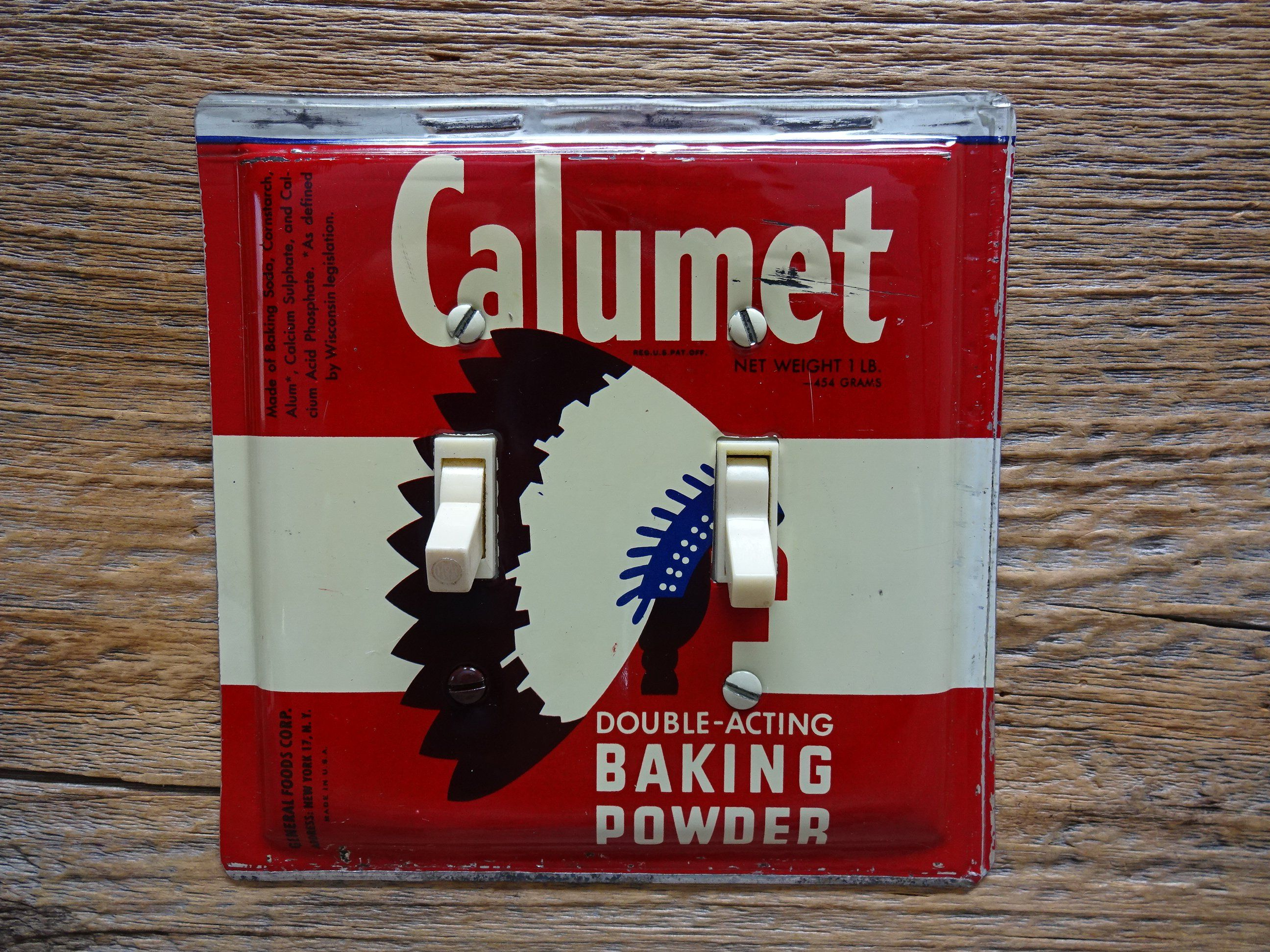 Vintage Calumet Baking Powder Tin Switch Plate Made From