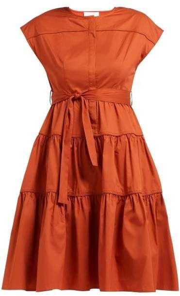 ad2c75844704f Binetti Love Simple Minds Tie Waist Tiered Cotton Dress - Womens - Dark  Orange