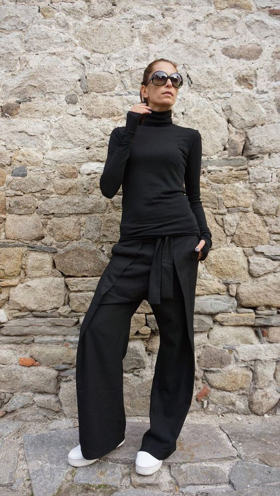 NEW Loose Black Pants / Wide Leg Pants /Extravagant Trousers Side Pockes / Belt Button and Zipper waistline /HandMade by Aakasha A05115 #fabrictape