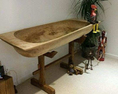 Antique Dough Bowl With Stand Retail Display Rustic