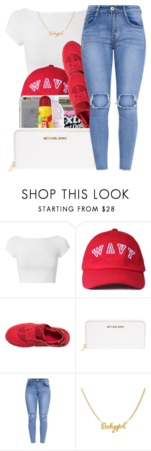 """First fvck❣️[6lack]"" by maiyaxbabyyy ❤ liked on Polyvore featuring Helmut Lang, NIKE and Michael Kors"