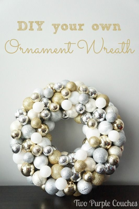 DIY Ornament Wreath via www.twopurplecouches.com