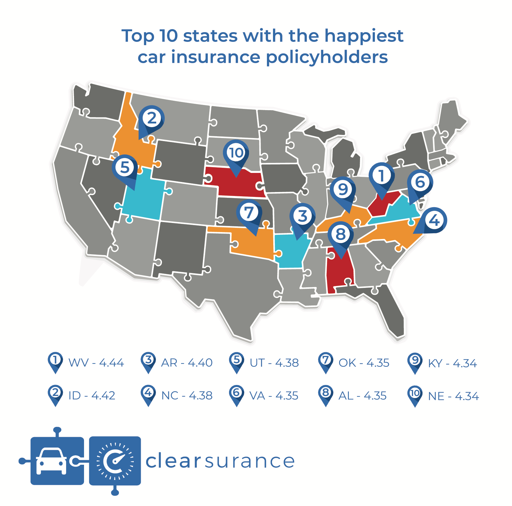 Top 10 States With The Happiest And Least Happy Car Insurance