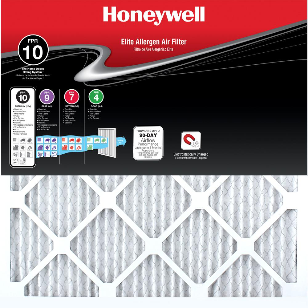 Honeywell 12 In X 24 In X 1 In Elite Allergen Pleated Fpr 10 Air Filter 12 Pack Air Filter