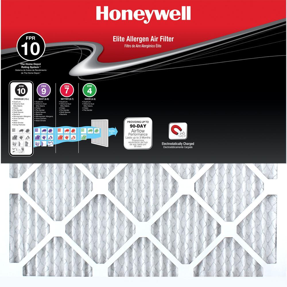 Honeywell 12 In X 24 In X 1 In Elite Allergen Pleated Fpr 10 Air Filter 12 Pack Air Filter