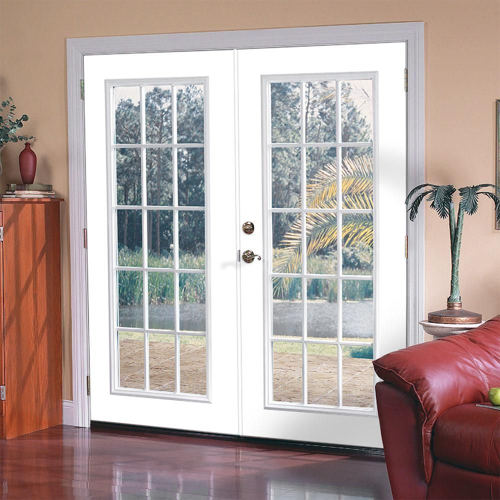 Masonite 72 In X 80 In Ultra White Steel Prehung Right Hand Inswing 15 Lite Clear Glass Patio Door With Brickmold 26394 The Home Depot French Doors Interior Fiberglass Patio Doors Glass Doors Patio