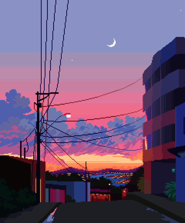 City Moonset, Me, Pixel Art, 2019. - Art