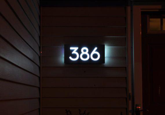 Custom Led House Number Sign Horizontal 5 Numbers Black