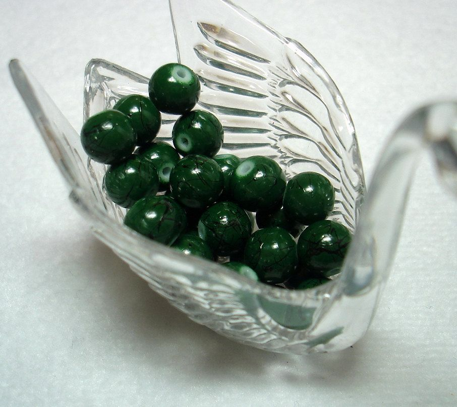 Dark Green Black Splashed Glass Round Beads (Qty 26) - B2851 by Fairydustboutique on Etsy