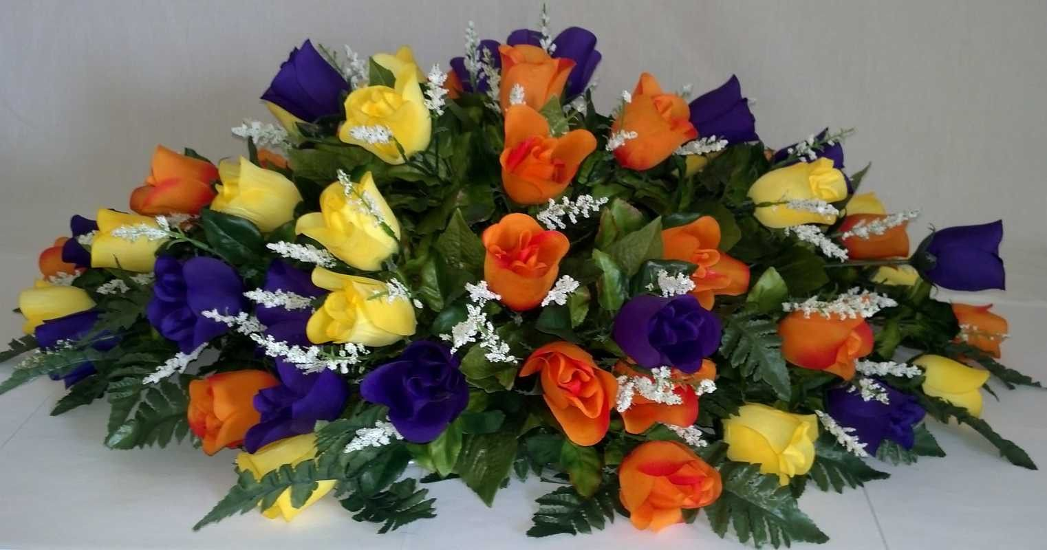 Premium Rosebud Spray With Orange Yellow And Purple Flowers Sprays