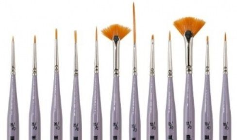 The Brushes in the Micro Mini Brush Set.  Popular with British Art Societies