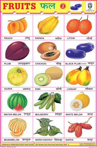 Fruits Chart No 2 Hindi Worksheets Hindi Language Learning