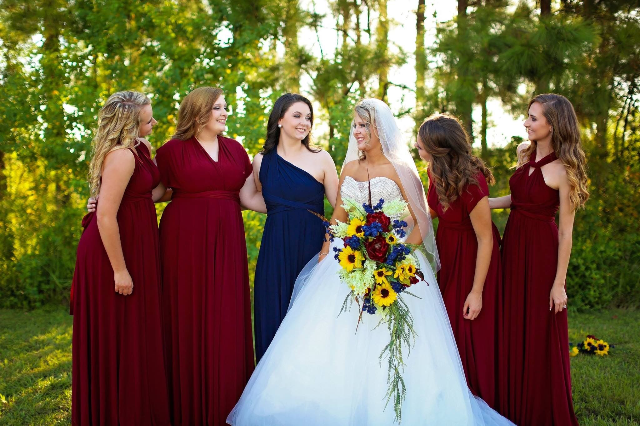 Burgundy Navy Wedding Bride Sunflowers Maroon Wedding Burgandy