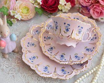 Vintage tea cup set floral porcelain Slav porcelain pink tea cup set HCH tea cups rose porcelain vintage tea set vintage teacup and saucer #teasets