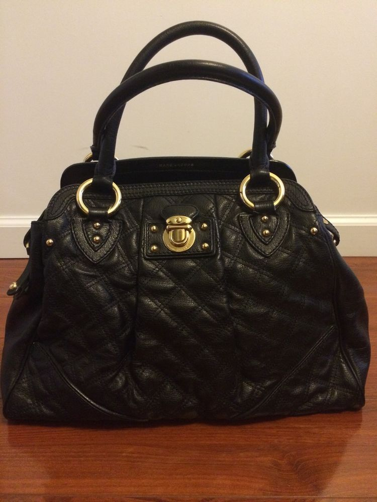 009496a55696 MARC JACOBS Black Alyona Quilted Leather Classic Gold Chain Tote Bag ...