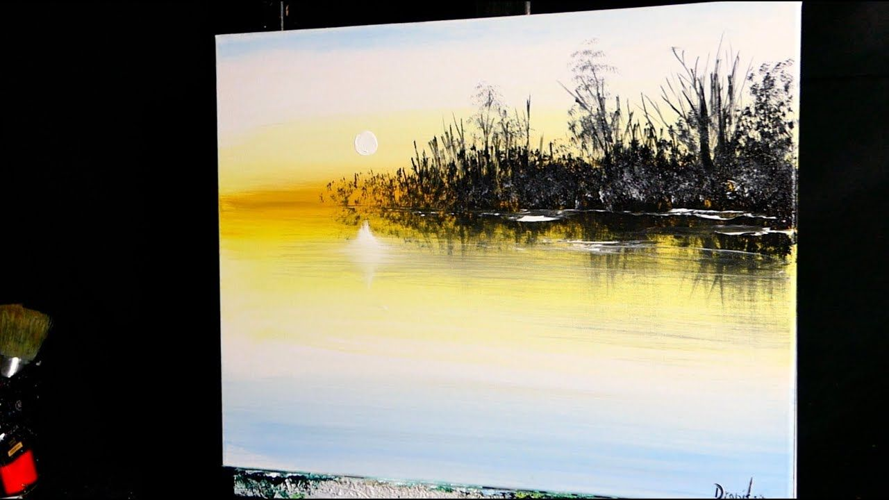 Slow Beginner Acrylic Painting Techniques Setting Sun