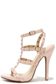 8ba5634cce90 Blingin  Sexy Back Nude Studded Caged Heels at Lulus.com!
