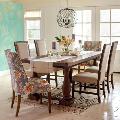 World Market Dining Room: With A Warm-hued Floral Motif And Subtle Wingback Profile