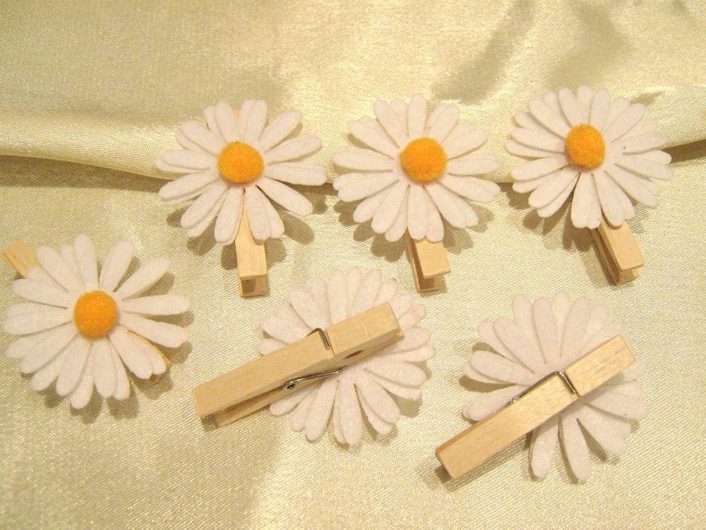 Holzklammer Dekoklammer Mit Margeriten Blüteweiß