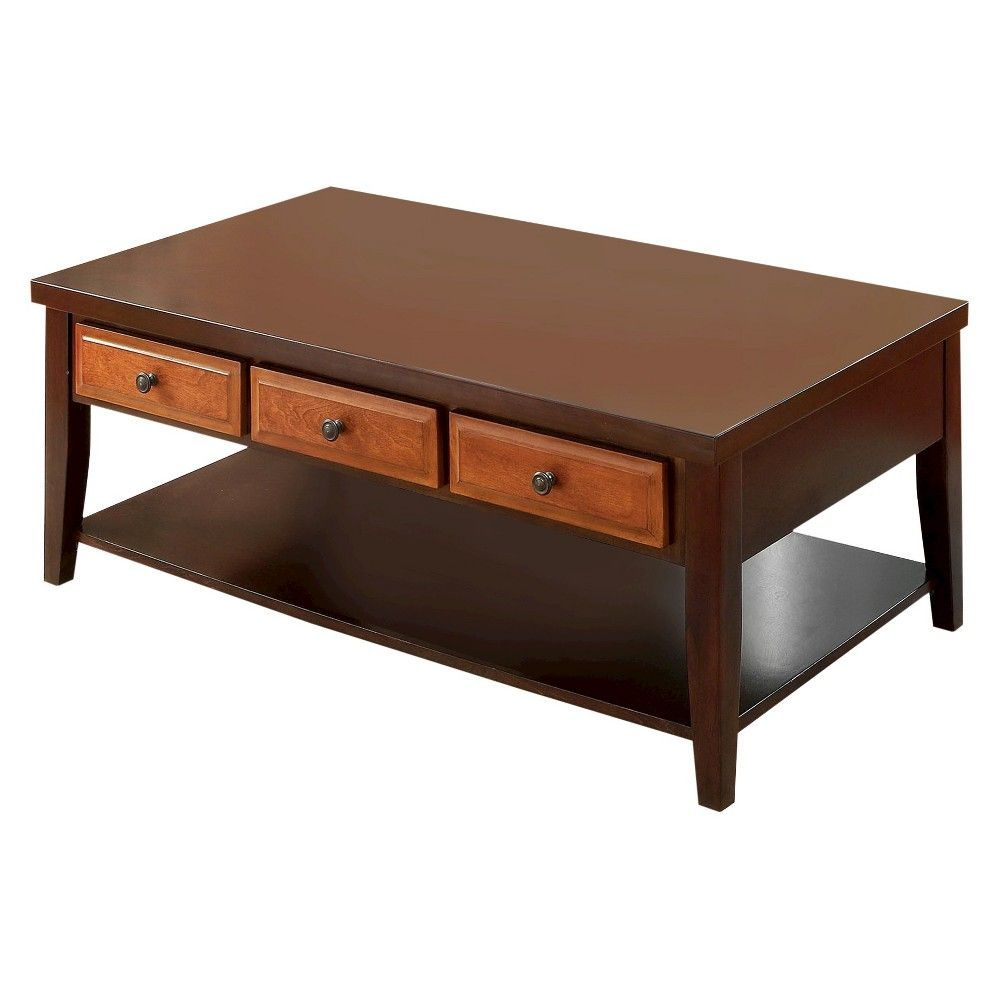 Rita two tone 3 drawer coffee table dark oakdark cherry rita two tone 3 drawer coffee table dark oakdark cherry furniture of geotapseo Choice Image