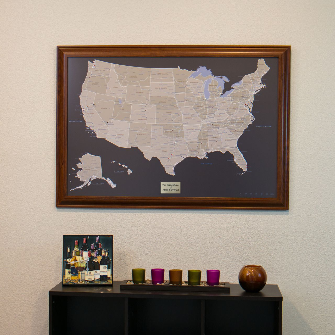 Earth Toned US Travel Map With Pins - Us travel map push pin