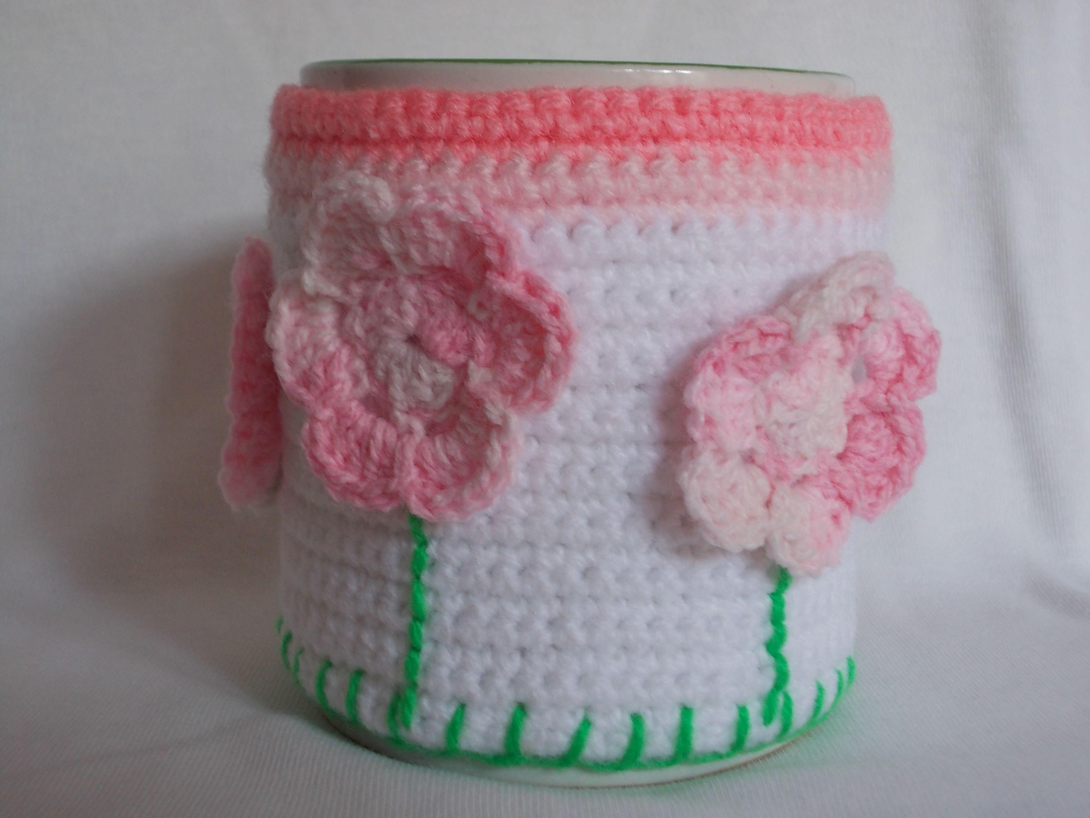 Funda para taza tejida en crochet hogar pinterest for Decoracion hogar a crochet