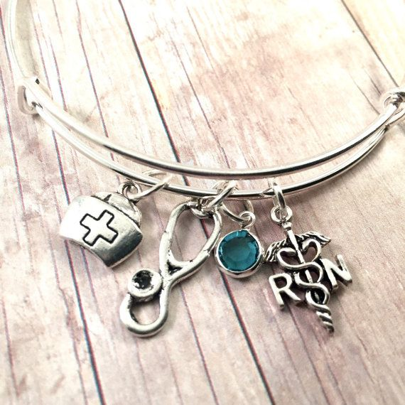 Charm Bracelet For Your Favorite Nurse Personalized Silver Plated Swarovski Birthstone And Charms On Stainless Steel