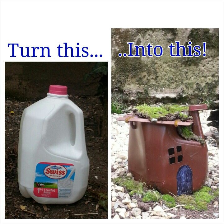 Fairy garden ideas  turn milk jug into fairy house  Just picture