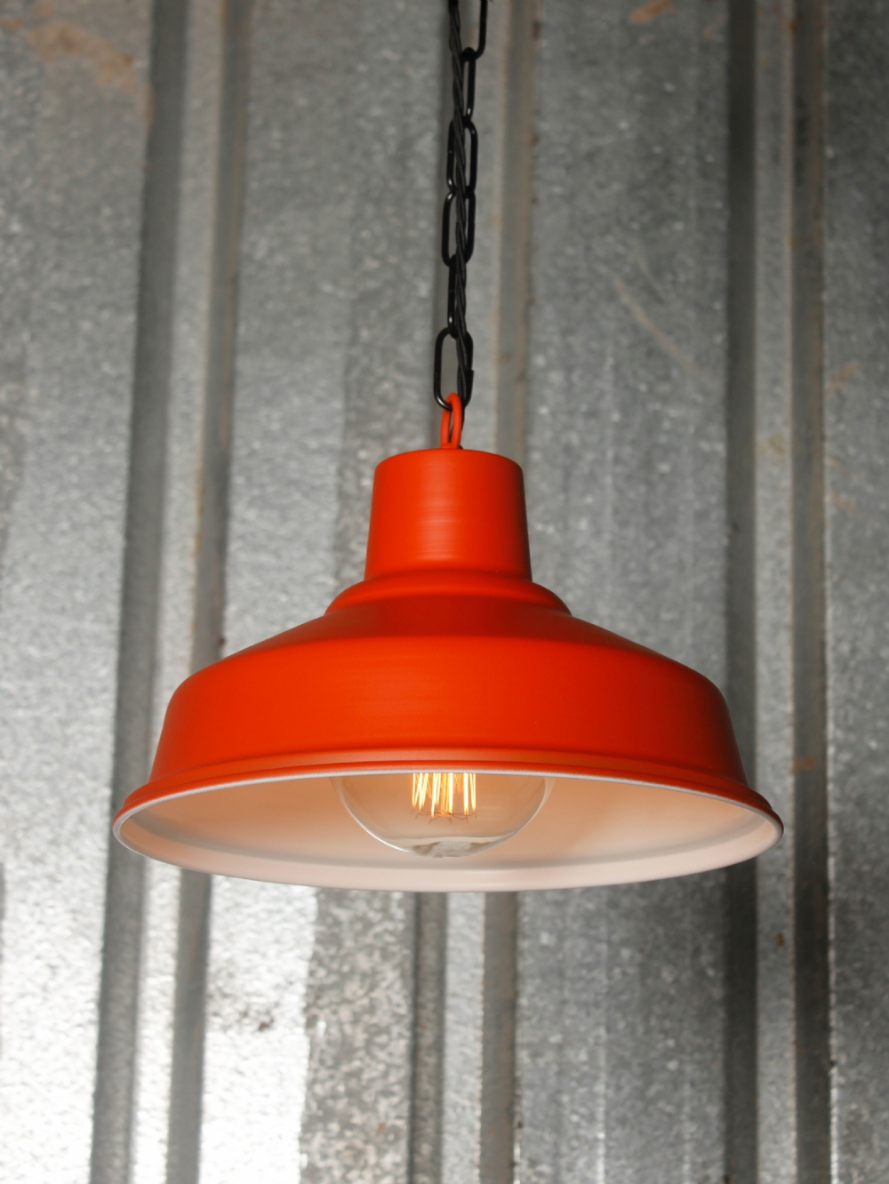 Industrial Orange And White Ceiling Pendant Light Orange Pendant