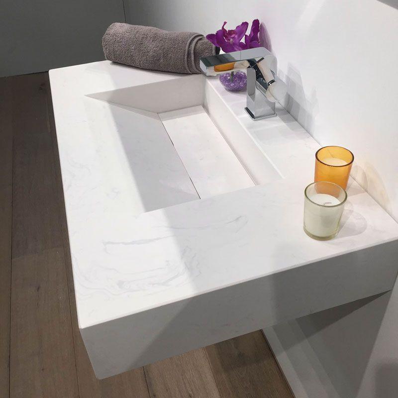 Pierre Calacatta Plan vasque salle de bain suspendu 81x46 cm Pinterest - Meuble Vasque A Poser Salle De Bain
