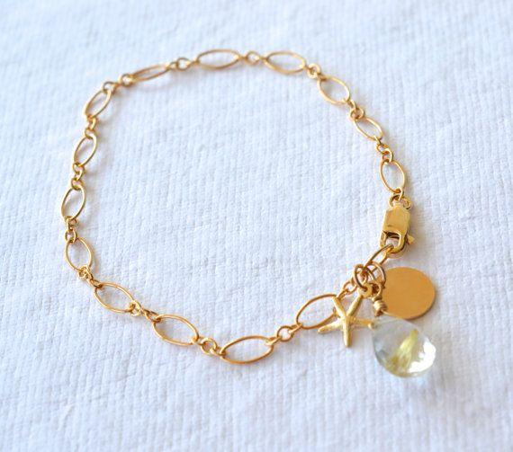 Gold Rutilated Quartz Gold Charm Bracelet Gold by DriftByAllie, $45.00
