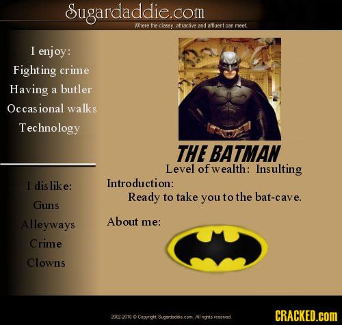 Fictional character dating profile