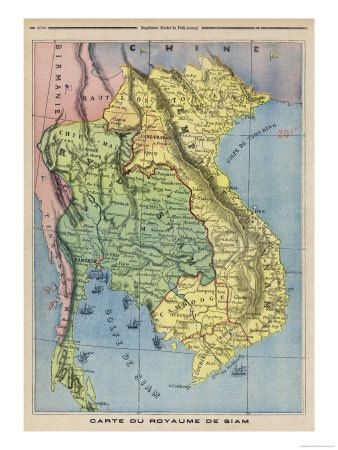 Map Showing The Kingdom Of Siam Now Thailand Giclee Tryk Pa