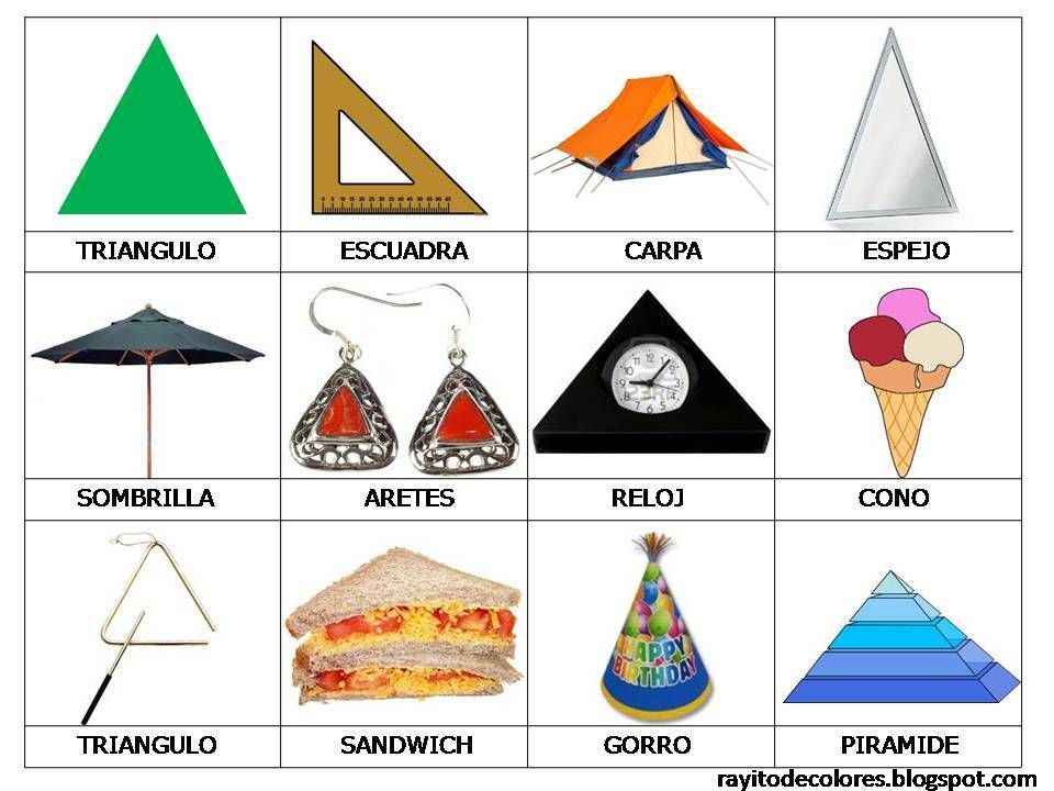 Resultado De Imagen Para Objetos De Forma Triangular Para Ninos Objetos Con Figuras Geometricas Formas De Triangulos Formas Para Ninos