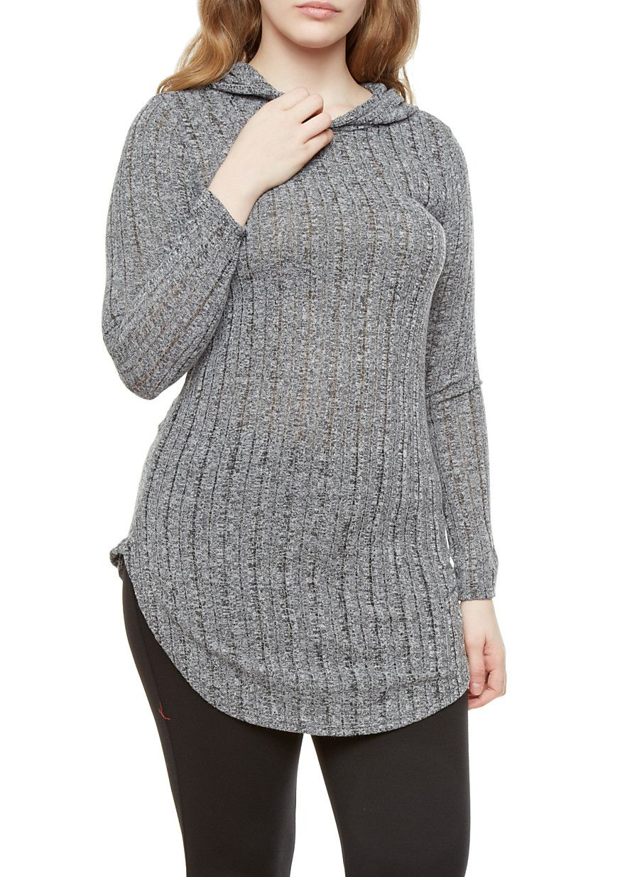 cc35ba1bb53 Rainbow Plus Size Long Sleeve Hooded Rib Knit Top With Rounded Hem ...
