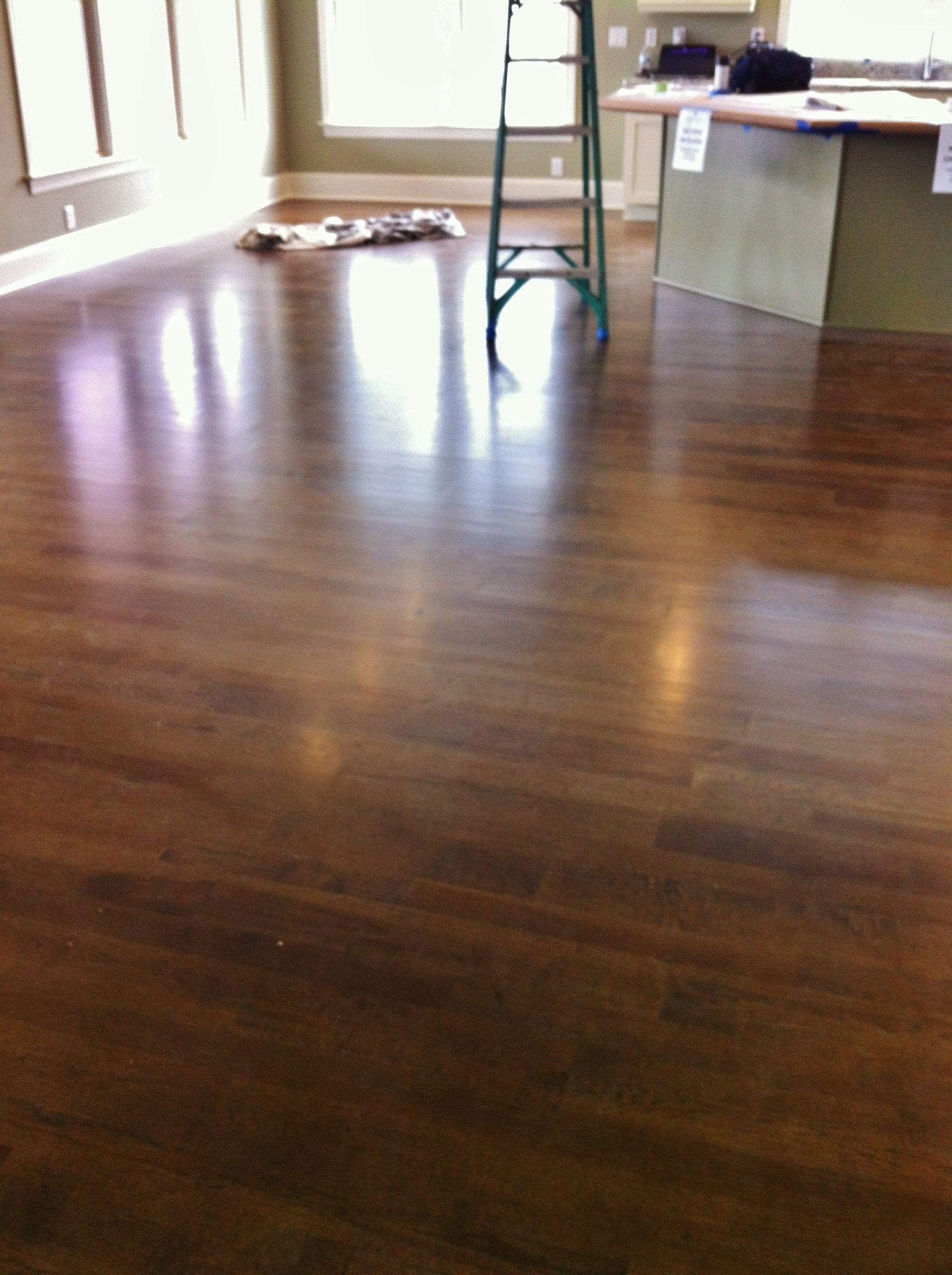 hickory hardwood floors stained dark walnut