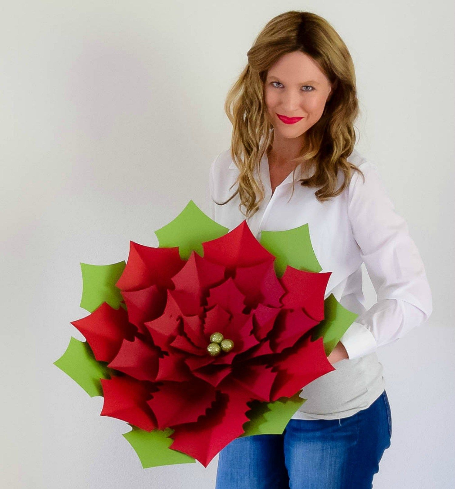 Diy Giant Paper Poinsettia Tutorial Christmas Paper Poinsettias