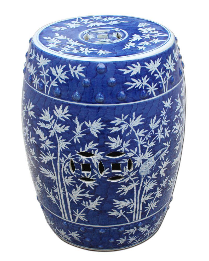 Blue White Bamboo Garden Stool The Pink Pagoda White Garden Stools Garden Stool Ceramic Stool