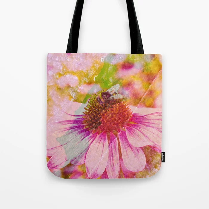 Pink Flower And The Bee Tote Bag by Karen Stahlros 30% OFF & FREE SHIPPING ON EVERYTHING! #artforsale #sale #blackfridaysale #blackfridaydeals #totebags #bags #carryallbags #artonbags #womensbags #reusablebags #shoppingbags #greatgiftideas #photography #painting #mixedmedia