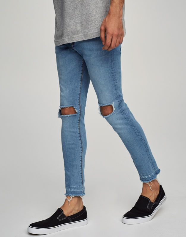 Pull&Bear - hombre - ropa - jeans - jeans superskinny fit rotos - azul clar - 09686809-V2017