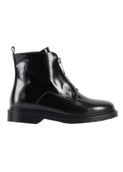 Boots en cuir avec zip Noir CLqHfvQ