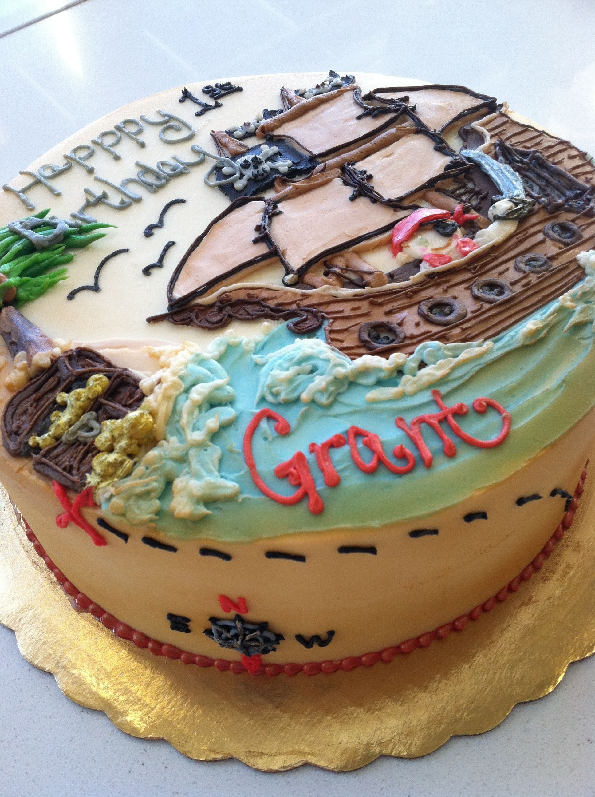 Buttercream Pirate Themed Birthday Cake